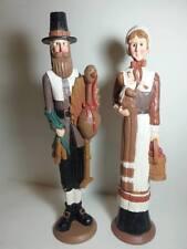 "Vintage Thanksgiving Pilgrim Couple 2PC SET Statue  Figurine Table Deco 15"""