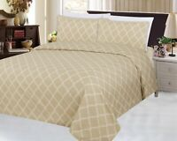 Bamboo Wrinkle Free Soft 3 Pieces Duvet Cover Set, Taupe Moroccan Trellis, Queen