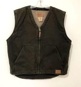 Schmidt Workwear Men's Brown Canvas Zip Front Vest Lined Chore Coat TV540D (L)