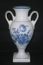 Flora Keramiek Gouda Holland Blue Rose 2-Handled Footed Vase Excellent Condition