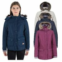 Trespass Jenna Womens Padded Jacket with Fur Hood t in Navy White & Purple