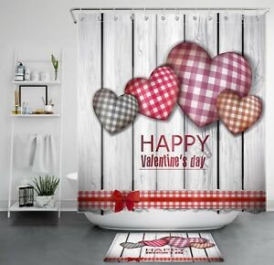 Valentine's Day Rustic Wooden Board Hearts Shower Curtain Sets Bathroom Decor