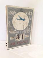 Rare miroir Calendrier Journalier AIR FRANCE de 1951 GERRER AVION AVIATION
