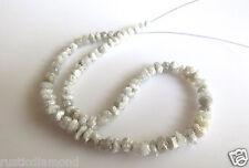 "40.01ct 4-5 MM Natural White Rough Diamond Beads Loose Diamond Bead 16"" Necklace"