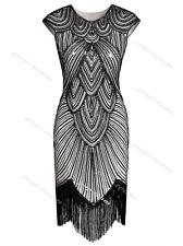 Retro 1920s Flapper Beaded Gatsby Charleston Party Fringe Evening Cocktail Dress Black White Dresses L UK 14-16 / US 12-14