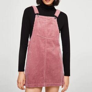 Mango Pink Corduroy Overall Mini Dress XS