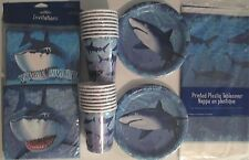 SHARK SPLASH - Birthday Party Supply Set Pack Decoration Kit for 16 w/ Invites