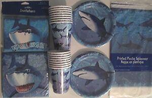 SHARK SPLASH - Birthday Party Supply Set Pack Decoration Kit for 16 w/ Invites