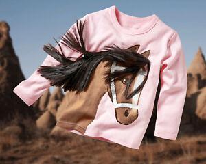 ZIEGFELD Kids Shirt rosa mit Pferd Linda braun Gr. 104-134 Langarm 3 D Mähne