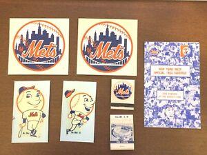 Vintage NEW YORK METS 1965 Mr Met Sticker, Matchbook, Schedule Lot x7
