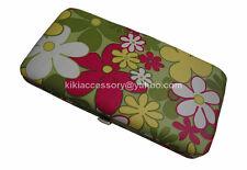 GREEN FLOWERS FLAT OPERA WALLET CLUTCH COIN PURSE CREDIT CARD ORGANIZER HANDBAG
