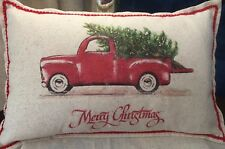 Christmas pillow, farmhouse,rustic, Red Truck, free personalization
