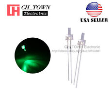 100pcs 2mm LED Diodes Water Clear Green Light Flat Top Transparent USA