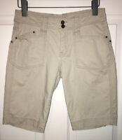 ROYAL ROBBINS Khaki Cotton Stretch Longer Length Shorts Bermuda Sz 2 EUC