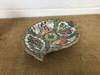 Antique Chinese Canton Export Porcelain Leaf Plate Dish Famille Rose 19thC Qing