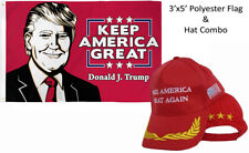 3x5 Donald J Trump Keep America Great & Make America Great Red Feather Stars Hat