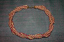 Vintage Perlenkette Rot Beige Kordel Kette Halskette Accessoires ca. 70er Jahre