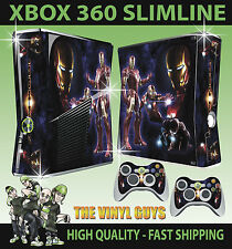 XBOX 360 SLIM TONY STARK IRON MAN SUIT STICKER SKIN & 2 PAD SKINS
