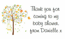 42 Large Personalised Labels / Address /Baby Shower Pretty Tree(Stickers)