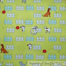 BonEful Fabric FQ Cotton Quilt Green Red White Dot Fence Cat Dog Puppy Kitty Pet
