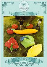 Vintage diagram sewing pattern for huge fun fruit floor cushions-free UK postage
