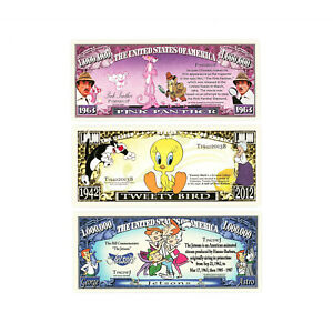 Set of 3 different fantasy paper money Pink Panther, Jetsons, Tweety
