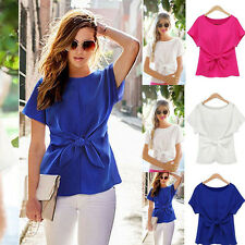 Women Chiffon Blouse Short Sleeve Shirt T-shirt Summer Lady Casual Tops S-3XL