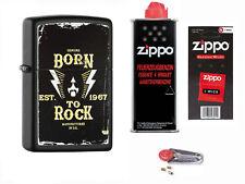 Zippo Born to Rock + Starter Pack mit Benzin,Docht,Feuersteine Neu 60000516