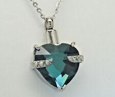 March Birthstone Heart Urn Necklace    Aquamarine Color CZ    Engraveable