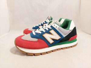 New Balance 574 Rugged Grey Blue Red Black Sneakers ML574DRY Men's Size 8