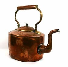 Antique Victorian copper kettle col de cygne dovetailed William Soutter & Sons 1870