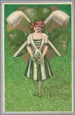 St Patricks Day Girl w Pipes Schmucker Postcard Scarce Signed