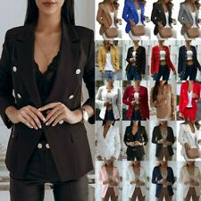 UK Women Ladies Long Sleeve Slim Blazer Suit Coat Work Jacket Formal Plus Size