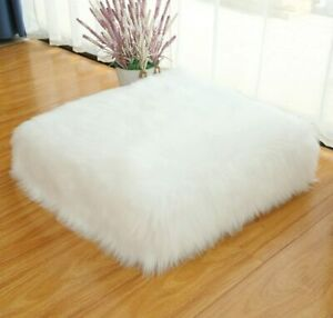 """Floor Pillow Cushion  Square Floor Pillow Seating Thick Fluffy Seat  24"""" White"""