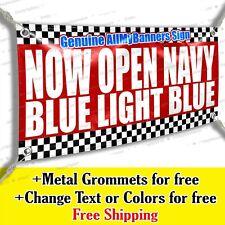 Now Open Navy Blue Light Blue Vinyl Banner Advertising Sign