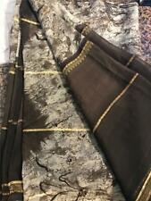 Brown White Gold Sari Indian Saree Bollywood Fabric Panel Drape