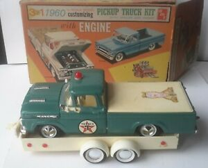 VINTAGE 1960 FORD F-100 PICK- UP TRUCK & TRAILER  3 in1 AMT IN BOX  MODEL KIT