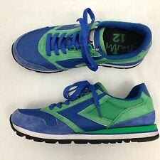 61b9e90e2c910 Retro Brooks Athletic Shoes Womens US 10 Med Blue Green Suede Lace Up