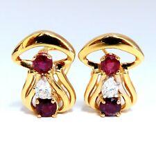 2.10ct natural red ruby diamonds clip earrings 14kt. g/vs mushroom