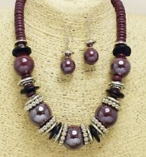 Purple and Silver FASHION Necklace Set