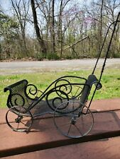 Extremely Rare Antique Victorian Doll Carriage. Black metal.