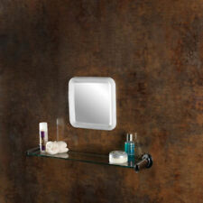 White Plastic Frame Square Bathroom Mirrors
