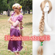 Women Disney Tangled Rapunzel Long Blonde Weaving Braid Cosplay Party Wigs New