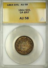 1864 Die 50 Great Britain 1S Shilling Silver Coin ANACS AU-58