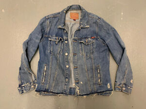 Lucky Brand Jean Jacket Women Medium Blue Distressed Long Sleeve