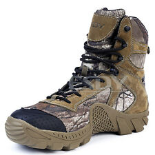 Mens Outdoor Military Army Camo Combat Boots High-Top Non-slip Tactical Shoes