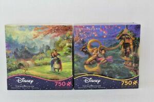 Ceaco Disney Puzzle 750 Piece Lot of 2 Mulan & Tangled New Thomas Kinkade