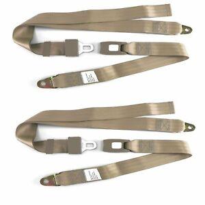 "Tan 2 Two Point Seat Belt New, Lap Belt, OEM Quality NEW! 60"" PAIR Belts 2X rod"