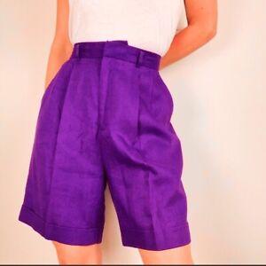 Classiques vintage linen high rise pleated shorts
