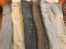 "5 PACK MENS JEANS #1 32"" Waist 34"" Length Distressed Denim Pants Vintage 32x34"